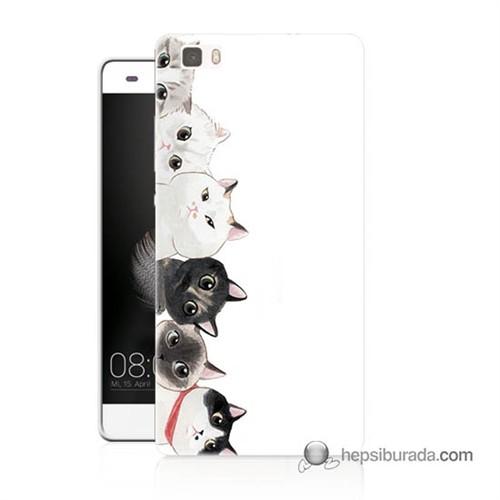 Teknomeg Huawei P8 Lite Kapak Kılıf Kediler Baskılı Silikon
