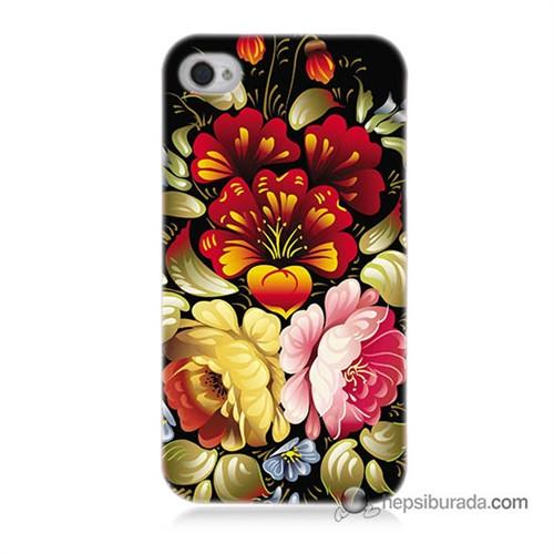 Teknomeg İphone 4 Kılıf Kapak Çiçekler Baskılı Silikon