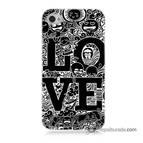 Teknomeg İphone 4 Kapak Kılıf Love Baskılı Silikon