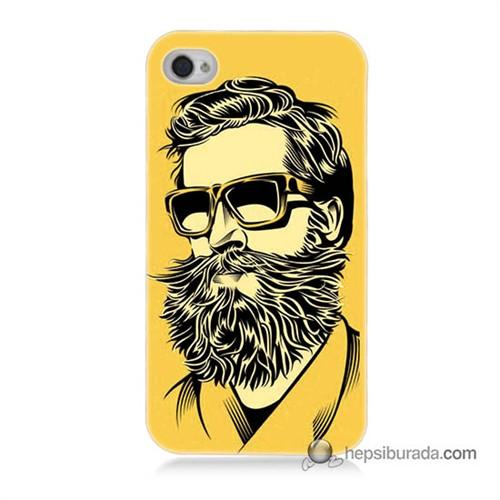 Teknomeg İphone 4 Kapak Kılıf Mustache Baskılı Silikon