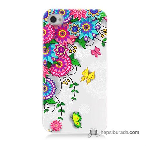 Teknomeg İphone 4 Kapak Kılıf Çiçek Ve Kelebek Baskılı Silikon