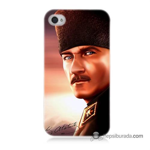 Teknomeg İphone 4 Kapak Kılıf Mustafa Kemal Baskılı Silikon