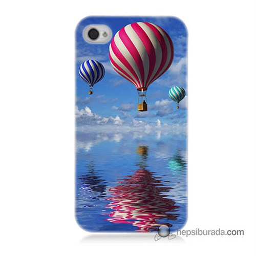 Teknomeg İphone 4 Kapak Kılıf Renkli Balonlar Baskılı Silikon