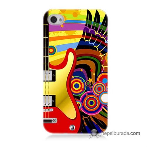 Teknomeg İphone 4 Kapak Kılıf Renkli Gitar Baskılı Silikon