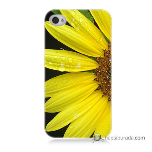 Teknomeg İphone 4 Kapak Kılıf Sarı Çiçek Baskılı Silikon
