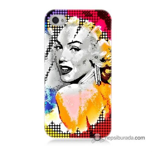 Teknomeg İphone 4 Kapak Kılıf Marilyn Monroe Baskılı Silikon