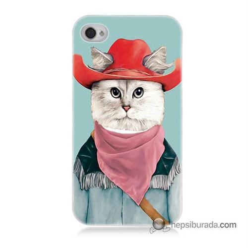 Teknomeg İphone 4S Kapak Kılıf Çizmeli Kedi Baskılı Silikon
