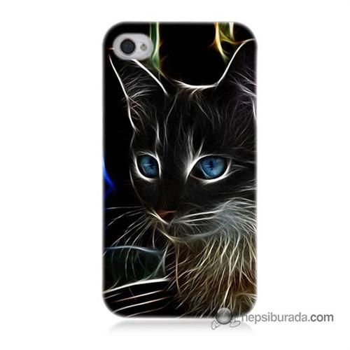 Teknomeg İphone 4S Kapak Kılıf Dumanlı Kedi Baskılı Silikon