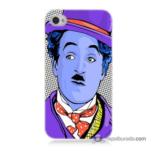 Teknomeg İphone 4S Kapak Kılıf Charlie Chaplin Baskılı Silikon