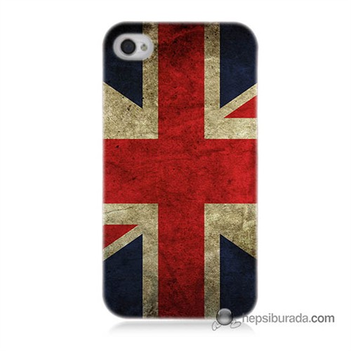 Teknomeg İphone 4S Kapak Kılıf İngiltere Bayrağı Baskılı Silikon