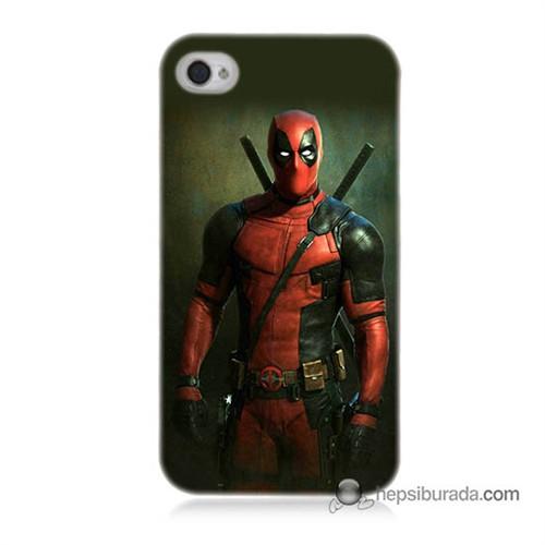 Teknomeg İphone 4S Kapak Kılıf Deadpool Baskılı Silikon