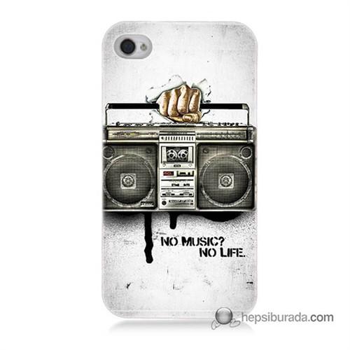 Teknomeg İphone 4S Kapak Kılıf Müzik Hayattır Baskılı Silikon