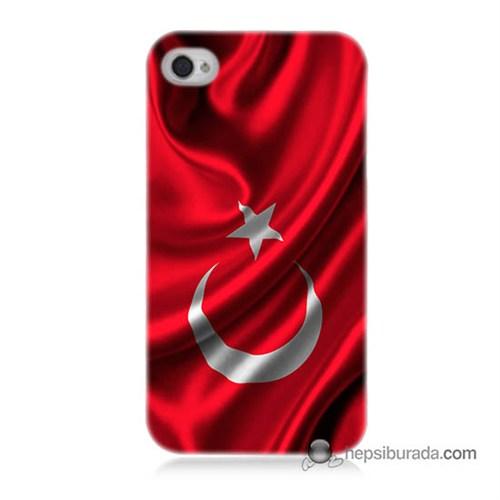 Teknomeg İphone 4S Kapak Kılıf Türkiye Bayrağı Baskılı Silikon
