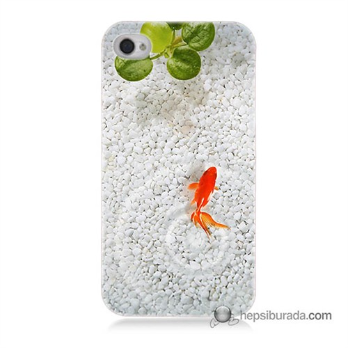 Teknomeg İphone 4S Kapak Kılıf Kırmızı Balık Baskılı Silikon