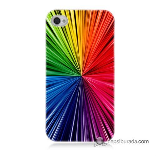 Teknomeg İphone 4S Kapak Kılıf Renkler Baskılı Silikon