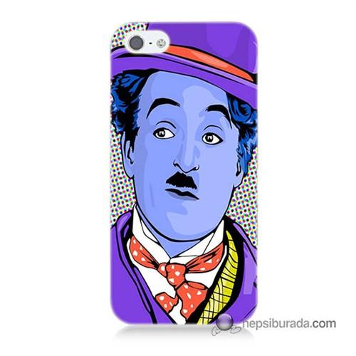Teknomeg İphone 5 Kapak Kılıf Charlie Chaplin Baskılı Silikon