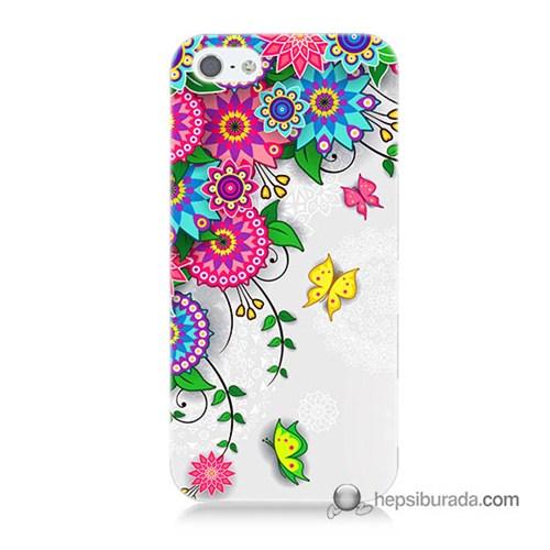 Teknomeg İphone 5 Kapak Kılıf Çiçek Ve Kelebek Baskılı Silikon