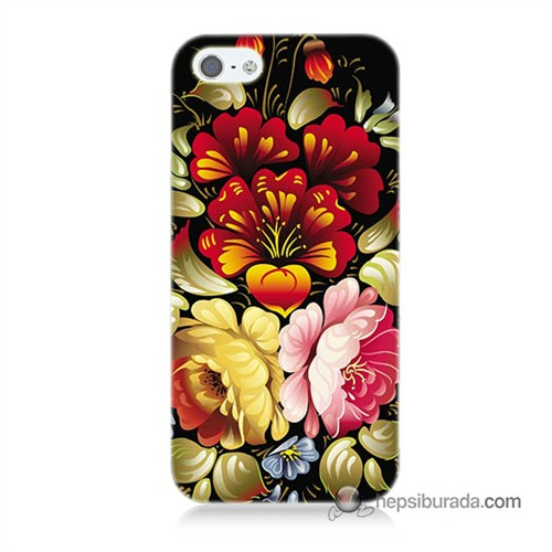 Teknomeg İphone 5S Kılıf Kapak Çiçekler Baskılı Silikon