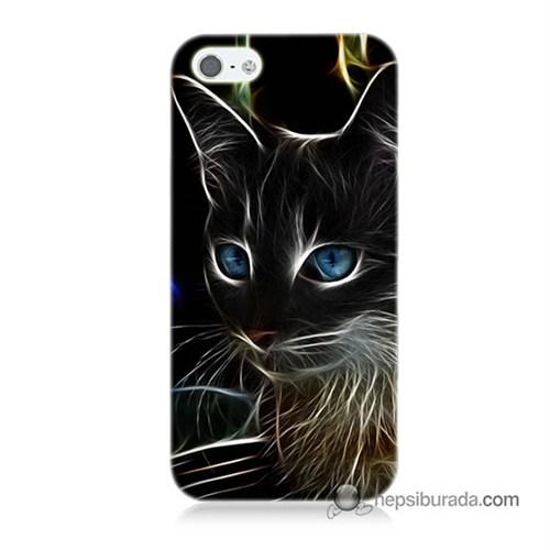 Teknomeg İphone 5S Kapak Kılıf Dumanlı Kedi Baskılı Silikon