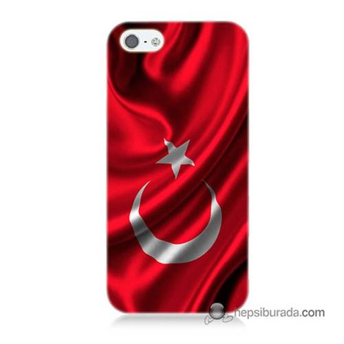 Teknomeg İphone 5S Kapak Kılıf Türkiye Bayrağı Baskılı Silikon