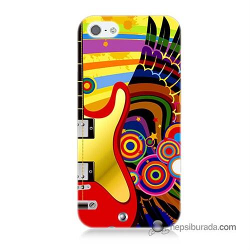 Teknomeg İphone 5S Kapak Kılıf Renkli Gitar Baskılı Silikon