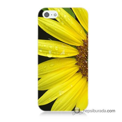 Teknomeg İphone 5S Kapak Kılıf Sarı Çiçek Baskılı Silikon