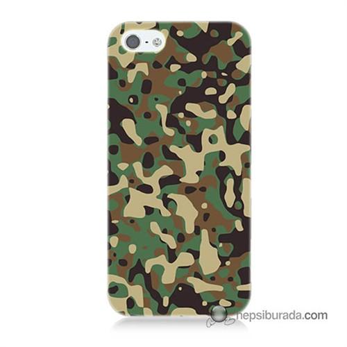 Teknomeg İphone 5S Kapak Kılıf Askeri Kamuflaj Baskılı Silikon