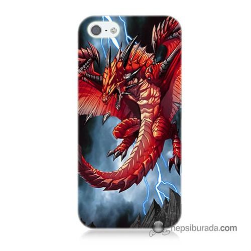 Teknomeg İphone 5S Kapak Kılıf Dragon Baskılı Silikon