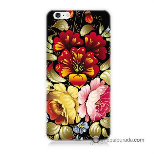 Teknomeg İphone 6S Kılıf Kapak Çiçekler Baskılı Silikon