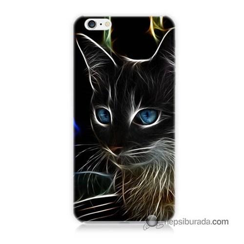 Teknomeg İphone 6S Kapak Kılıf Dumanlı Kedi Baskılı Silikon