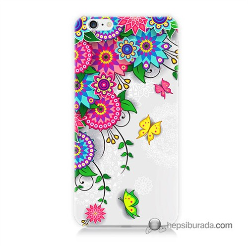 Teknomeg İphone 6 Plus Kapak Kılıf Çiçek Ve Kelebek Baskılı Silikon
