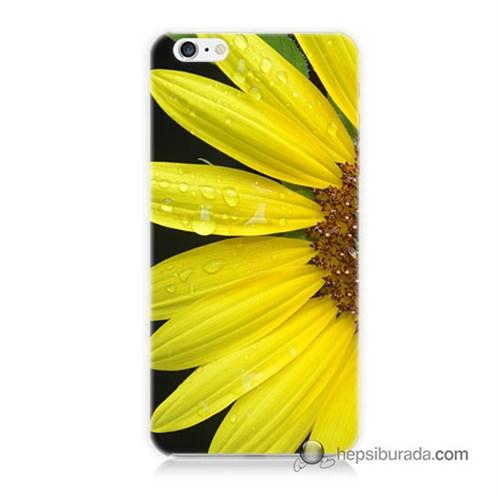 Teknomeg İphone 6 Plus Kapak Kılıf Sarı Çiçek Baskılı Silikon