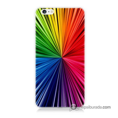 Teknomeg İphone 6 Plus Kapak Kılıf Renkler Baskılı Silikon