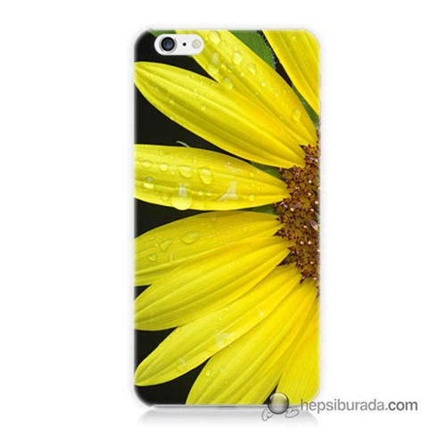 Teknomeg İphone 6S Plus Kapak Kılıf Sarı Çiçek Baskılı Silikon