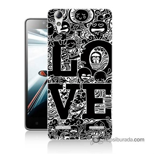 Teknomeg Lenovo A6010 Kapak Kılıf Love Baskılı Silikon