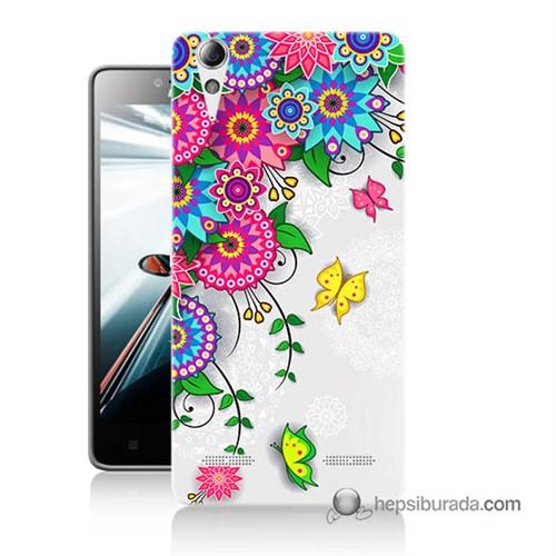 Teknomeg Lenovo A6010 Kapak Kılıf Çiçek Ve Kelebek Baskılı Silikon