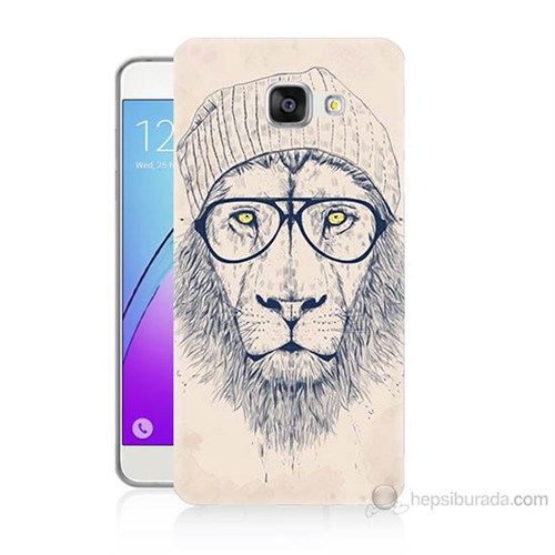 Teknomeg Samsung Galaxy A3 2016 Kılıf Kapak Gözlüklü Aslan Baskılı Silikon