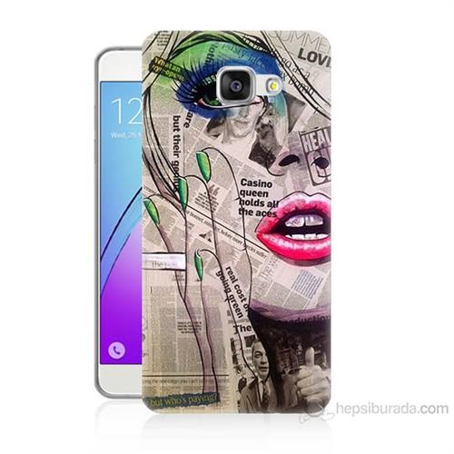 Teknomeg Samsung Galaxy A3 2016 Kapak Kılıf Gazete Kadın Baskılı Silikon