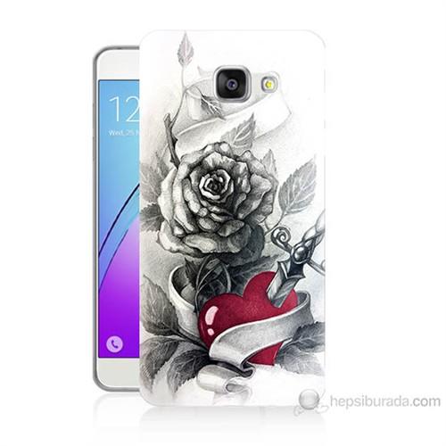 Teknomeg Samsung Galaxy A5 2016 Kapak Kılıf Hançerli Kalp Baskılı Silikon