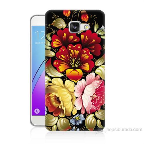Teknomeg Samsung Galaxy A7 2016 Kılıf Kapak Çiçekler Baskılı Silikon