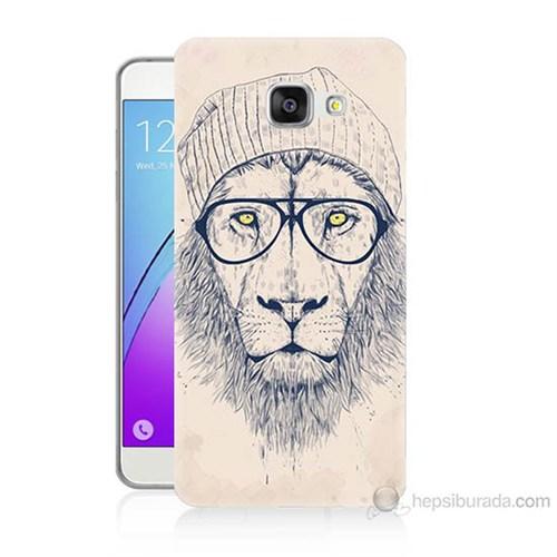 Teknomeg Samsung Galaxy A7 2016 Kılıf Kapak Gözlüklü Aslan Baskılı Silikon