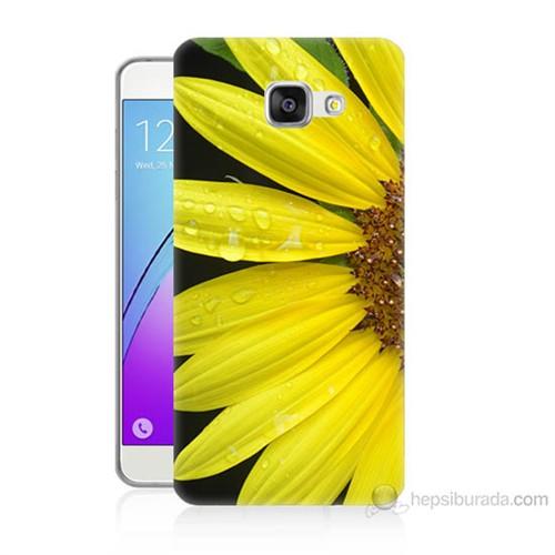 Teknomeg Samsung Galaxy A7 2016 Kapak Kılıf Sarı Çiçek Baskılı Silikon