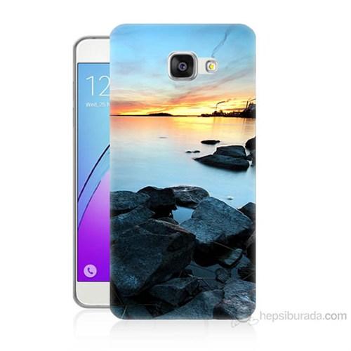 Teknomeg Samsung Galaxy A7 2016 Kapak Kılıf Kayalık Baskılı Silikon