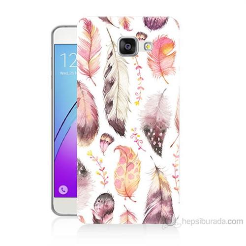 Teknomeg Samsung Galaxy A7 2016 Kapak Kılıf Renkli Tüyler Baskılı Silikon