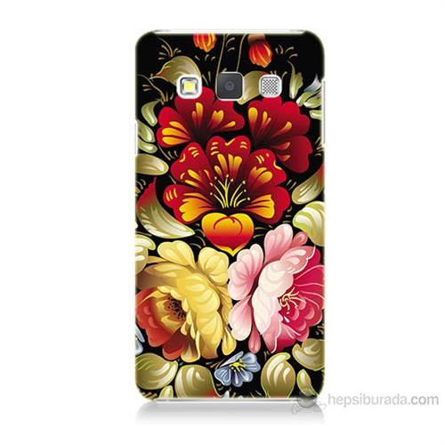 Teknomeg Samsung Galaxy A7 Kılıf Kapak Çiçekler Baskılı Silikon