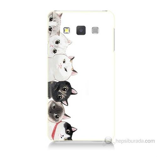 Teknomeg Samsung Galaxy A7 Kapak Kılıf Kediler Baskılı Silikon