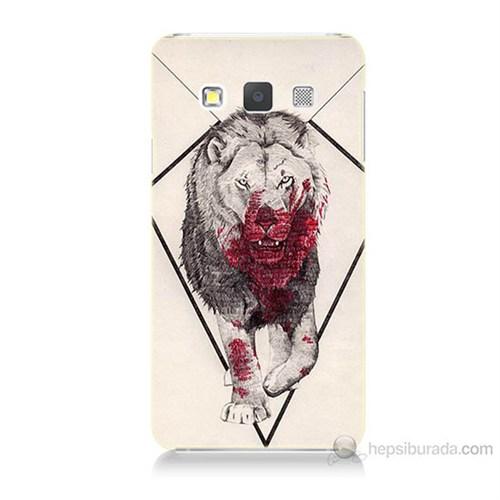 Teknomeg Samsung Galaxy A7 Kapak Kılıf Kanlı Aslan Baskılı Silikon