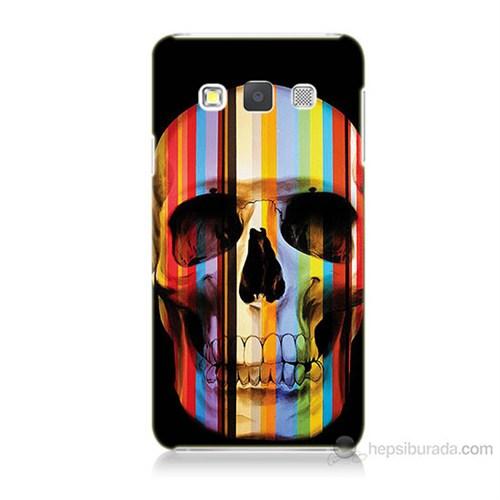Teknomeg Samsung Galaxy A7 Kapak Kılıf Renkli Kurukafa Baskılı Silikon