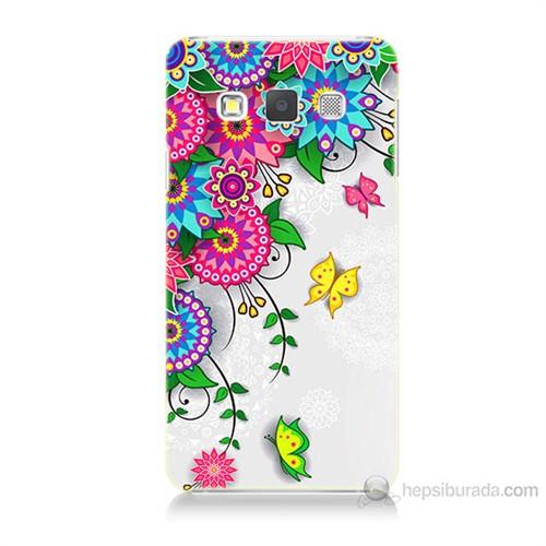 Teknomeg Samsung Galaxy A7 Kapak Kılıf Çiçek Ve Kelebek Baskılı Silikon