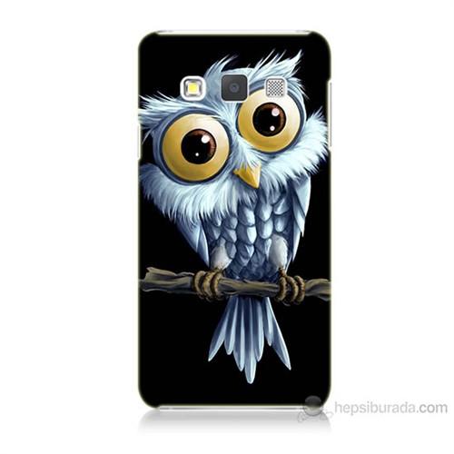 Teknomeg Samsung Galaxy A7 Kapak Kılıf Beyaz Baykuş Baskılı Silikon